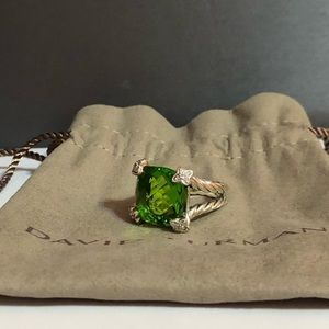 David Yurman peridot Diamond cushion on point ring